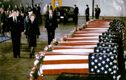 President and Nancy Reagan mourn the victims of the April 18, 1983 bombing of the US Embassy in Beirut.  Photo Source: http://www.defense.gov/dodcmsshare/newsstoryPhoto/2008-06/hrs_1983-O-xxxx-001.jpg