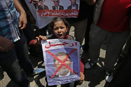 "Egyptian men, women and children rioting against Morsi and his Muslim Brotherhood, chanting ""erhal!"", or ""leave!"" Photo source: http://goo.gl/a1jlp."