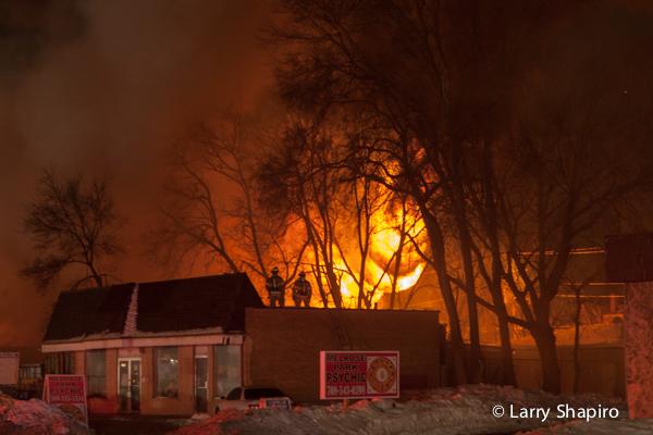 huge fire scene at night