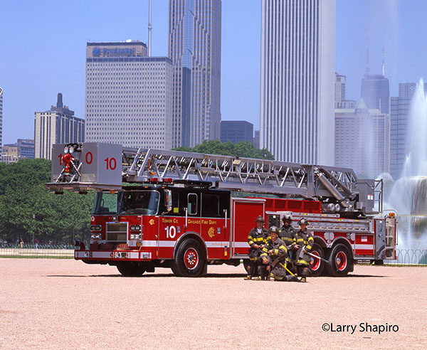 Pierce fire truck with firemen in Chicago