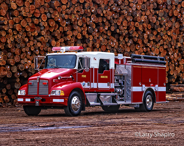 Kenworth/Pierce fire engine at lumber mill