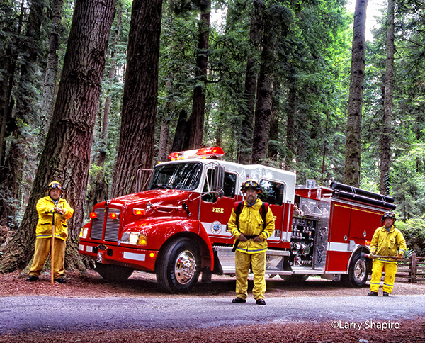 firemen in a forest with Pierce fire engine