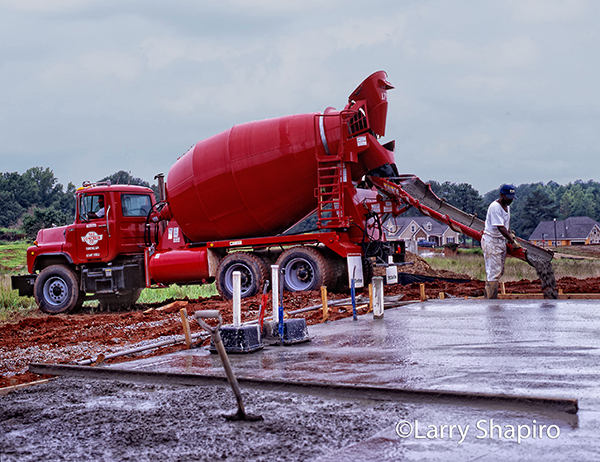 cement mixer pouring a slab