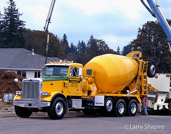 Peterbilt cement mixer at work