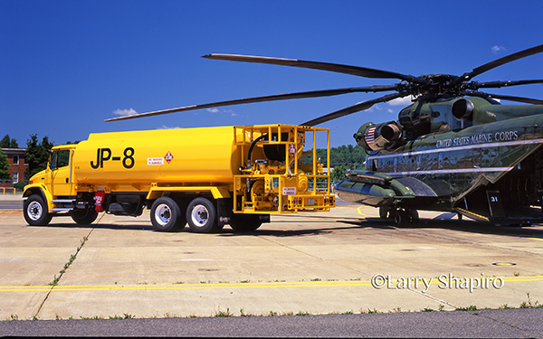 USMC Marine Corps HMX-1 CH-46 with fuel truck