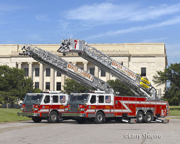 Two E-ONE aerials owned by the Oklahoma City Fire Department