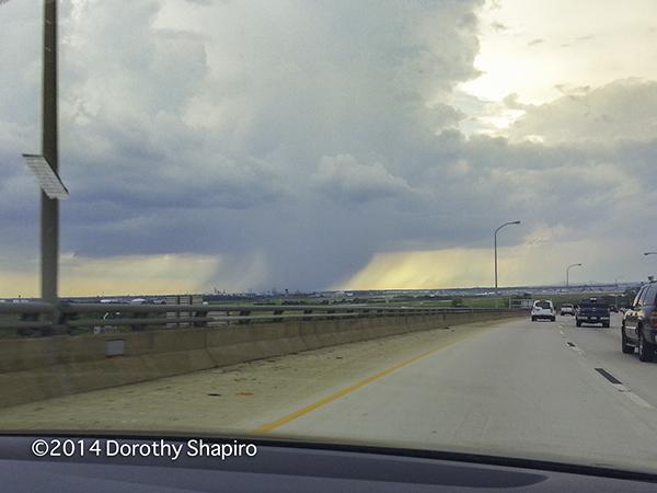 severe thunderstorm seen on the horizon