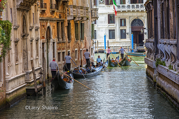 multiple gondolas in Venice