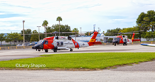 Two USCG MH-60 Jayhawk helicopoters