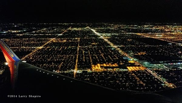 Chicago's south side at night from an airplane