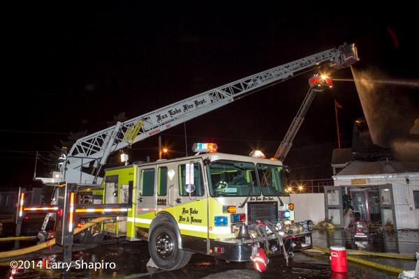 Nova Quintech SkyArm working at night fire scene
