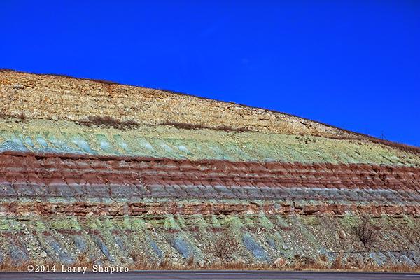 rock cutout along the highway