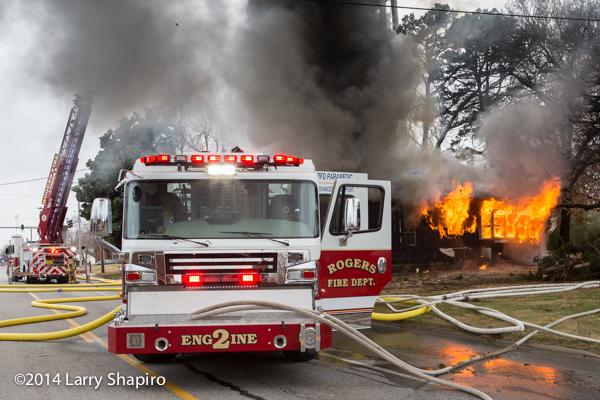 Rosenbauer Commander fire engine at house fire