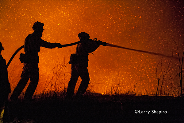 silhouette of wild land firefighters