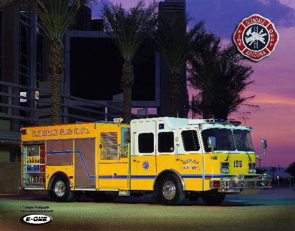 Glendale Fire Department fire engine at sunset