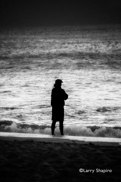 solitude on the beach at dusk