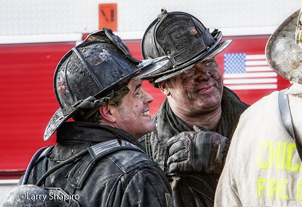 fireman with a dirty face after battling a fire