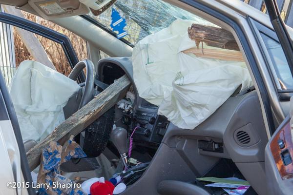4x4 fence posts pierce car windshield and dashboard