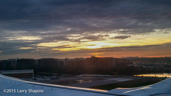 Crystal City in Arlington, VA at sunset as we lifted off from Reagan National Airport. Larry Shapiro photo