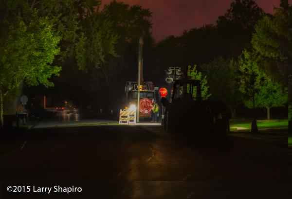 sewer vac at night