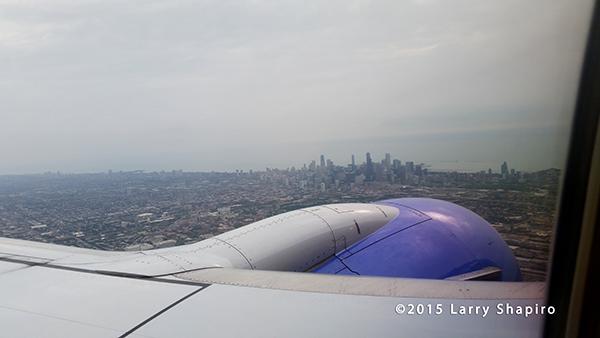 Chicago skyline from 8000 feet
