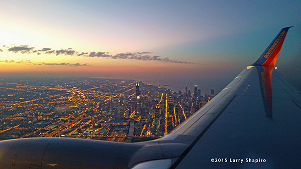 Chicago skyline from an airplane