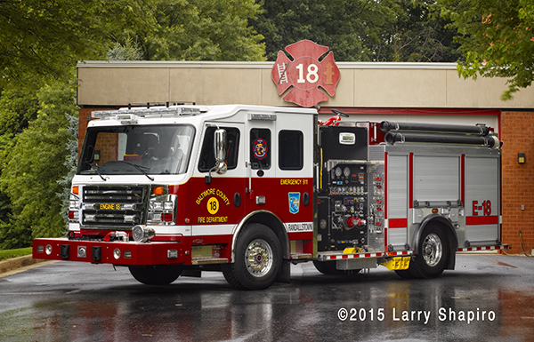 Rosenbauer America Commander fire engine for Baltimore County MD