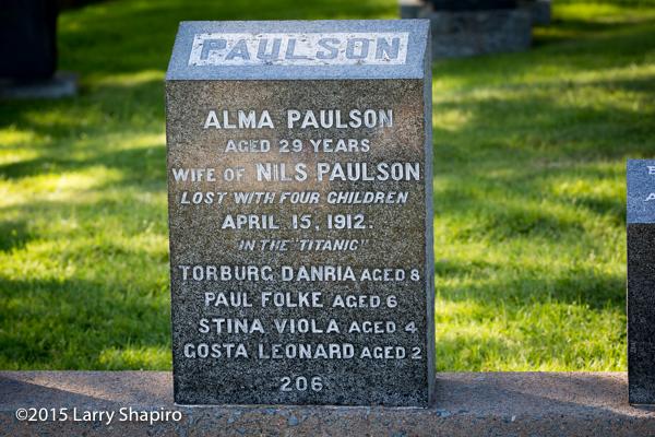 Alma Paulson perished on the RMS Titanoc