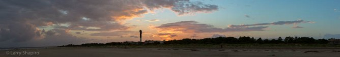 panoramic image of a sunset at Sullivans Island South Carolina