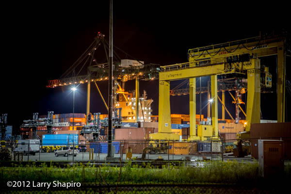 Offloading a container ship in Halifax, NS  at the Fairview Cover Container Terminal