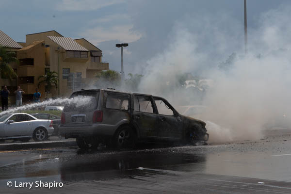 Ford SUV on fire