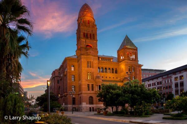 Bexar County Courthouse in San Antonio at sunset.