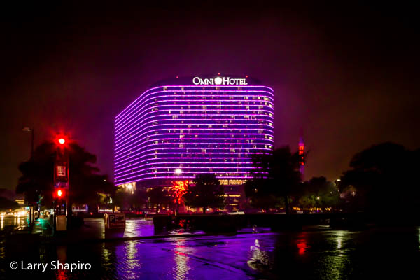 Omni Hotel in Dallas at night