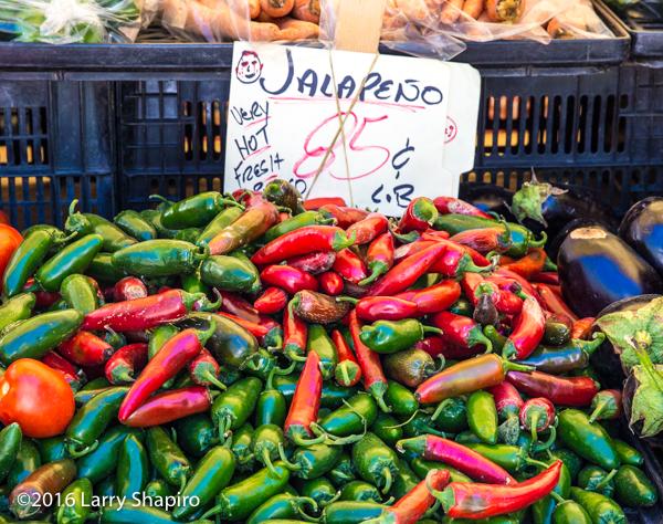 farm fresh jalapeño peppers at a farmer's market