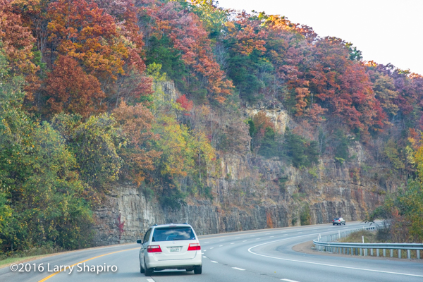 Fall colors and steep rock cuts along Interstate 24