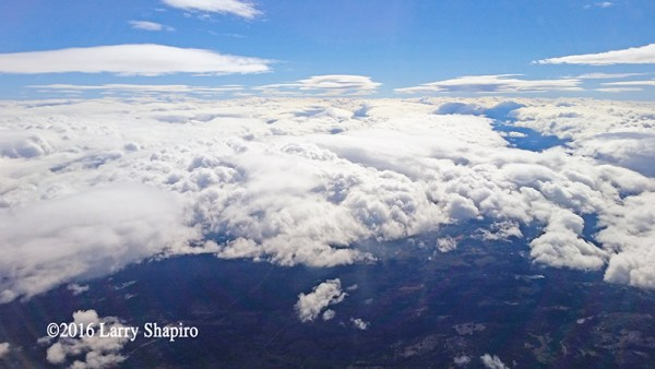 Looking at clouds from an airplane window