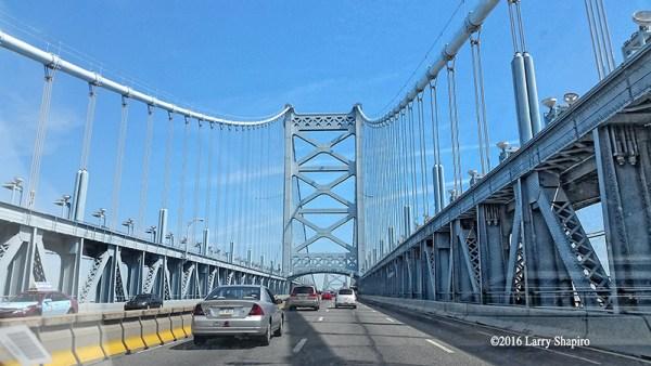 Driving across the Ben Franklin Bridge