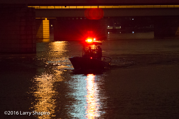 DCFD fire boat on the river at night