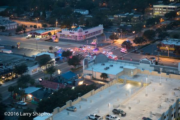 overview of crash scene in Myrtle Beach