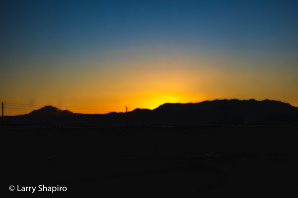 Sunrise along the mountains in Southern CA