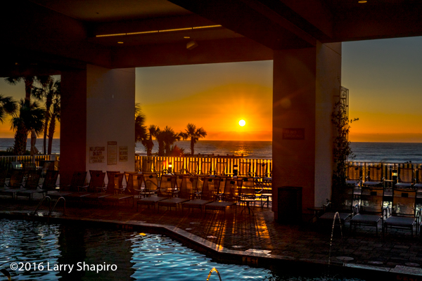 sunrise over the hotel pool