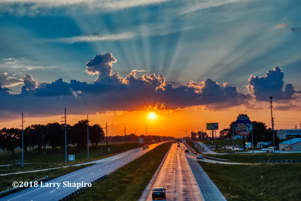 Sunset on US Route 60 in Rogersville, Mo