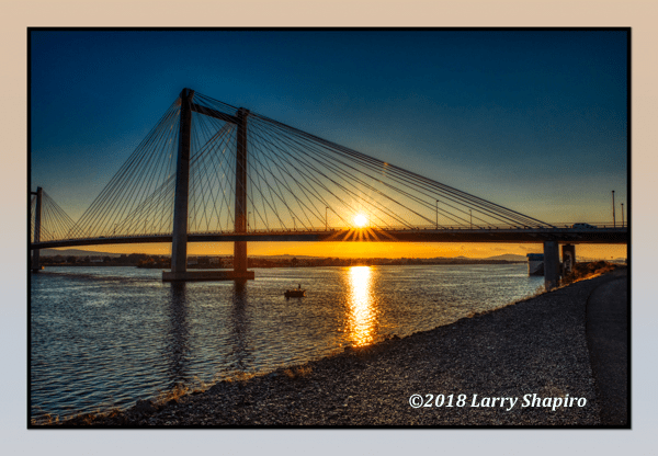 Columbia River sunset with the cable bridge in Pasco, WA. Larry Shapiro photo
