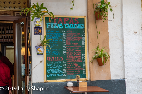 cafe menu in Seville Spain