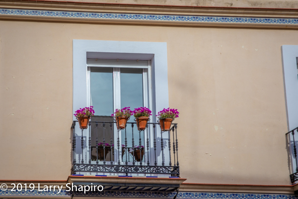 colorful building in Seville Spain with balcony and purple flowers