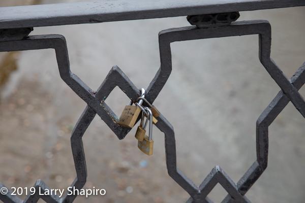 padlocks locked to railing in Granada