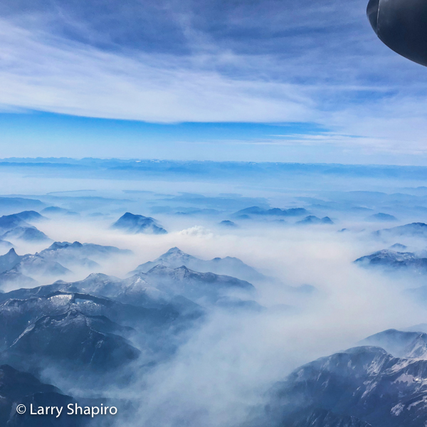 Mountains of British Columbia seen from an airplane