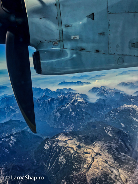 Mountains of British Columbia seen from a turbo prop airplane