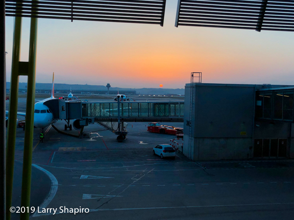 Sunrise at the Madrid International Airport