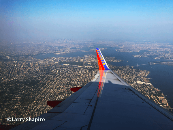 New York City seen from a Southwest Airlines plane